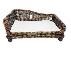 Big Huge XL-Cestino in vimini, per cani e animali domestici, cuscino imbottito divano, marrone, Small 60x43x26 cm.
