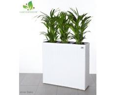 GARTENFREUDE, Portavaso in polyrattan da interni ed esterni, con 3 vasetti in plastica, colore: Bianco, 76 x 26 x 73 cm
