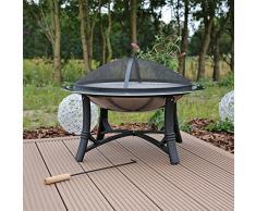 Braciere da giardino FS2 Ciotola da fuoco caminetto con Griglia in acciaio inox per uso in Giardino con parascintille e attizzatoio uso come griglia a carbone o fuoco per scaldare