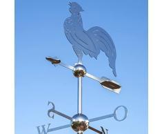 Linneborn Metallwaren GmbH - Banderuola segnavento per tetti, a forma di gallo, con rosa dei venti