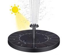 VITCOCO Fontana Solare da Giardino, 2.5W Pompa Solare per Laghetto con Batteria, con 6 Ugelli, Pompa Solare Galleggiante Fontana per Laghetto, Bird Bath, Piccolo Stagno