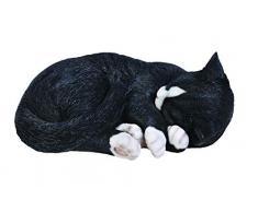 Vivid Arts, Statua Decorativa in Resina Sintetica, Motivo: Gatto Che Dorme, Misura: B, Colore: Nero/Bianco