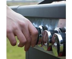 Barbec-U Grill a gas profi 3 + 1, grill su ruote, postazione griglia con 3 bruciatori principali e uno laterale, barbecue a gas con diversi accessori, perfetto come grill a gas per campeggio e postazione griglia, su ruote, con