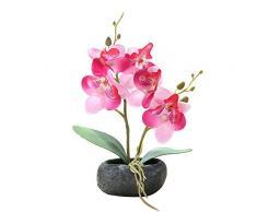 Flikool 2 Steli Orchidea Artificiali in Vaso Phalaenopsis Fiori Artificiale in Seta Finta Orchidee Bonsai Piante Artificiali per Balcone Casa Ufficio Tavolo Decorazione - Pink