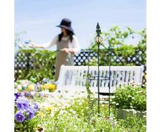 Relaxdays Set da 2 Sostegni per Piante Rampicanti, da Terra, Aiuole, Vasi di Piante, Varie Altezze: 99,5 cm e 80 cm, Verde Scuro