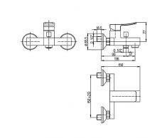 Yellowshop - Miscelatore esterno vasca con kit duplex Jacuzzi mod. Tank