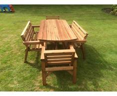 Set di mobili da giardino in legno. 6 'tavolo 2 panche e 2 sedie