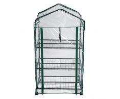 TecTake Serra da giardino mobile 3 ripiani in acciaio e PVC per piante 69x49x133cm