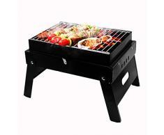AlfaView Barbecue Portatile Pieghevole, BBQ Barbecue Grills, Protezione per Vernice Nera Ad Alta Temperatura, Prevenire La Ruggine e Facile da Pulire, Riunione di Famiglia in Balcone e Giardino