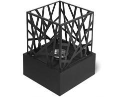 Jago® Caminetto da Tavolo - Portatile, 21x21x30 cm, Quadrato, Acciaio Inossidabile, con Pietre Decorative, da Interno/Esterno - Caminetto a Bioetanolo, da Pavimento, da Terra