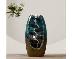 EliteMill Ceramica Cascata Fumo Flusso Dietro Incenso, Zen Fiumi Artigianato Portaincenso Collective - Blu Fontana con 10 Coni