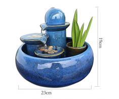 MINMINA Decorazione Fontana Interna, Fontane al Coperto Piccolo Acquario Cascata Fatta A Mano per La Decorazione di Ceramica Feng Shui Decorazione per,Blue,19 * 23cm