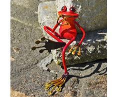 Fabulous Mensola Rana Scultura da giardino in metallo seduto figura rane Rosso