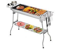 Fixget Barbecue Grill, Grill Barbecue Carbone Griglia Barbecue per 5-10 Persone, Utensile BBQ Grill Barbecue Carbone Pieghevole per Picnic con Gli Amici, Riunione di Famiglia in Balcone e Giardino