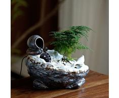 GYBJ Decorazione di acqua fontana rocaille ruota di Feng Shui decorazione di soggiorno di ceramica ufficio desktop piccola fortuna dell'acquario,B,Taglia unica