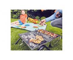 Enders barbecue hohlz Carbone Dallas 2.0, TÜV GS, barbecue, picnic, barbecue portatile Mini Barbecue A Carbonella, balcone Griglia in acciaio inox, Legno, carbone, argento