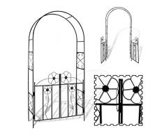 vidaXL Arco da Giardino con Cancello Fiori Rose Piante Rampicanti Pergolato
