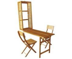 Set da balcone in legno di acacia 2 posti 3 pezzi marrone – pieghevole – Salvaspazio – 115 cm x 50 cm x 30 cm -