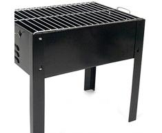 Bakaji Barbecue Portatile Con 4 Gambe Alimentazione a Carbonella Carbone Per Grigliate Carne Pesce Verdure Giardino Patio Terrazza Pic Nic Ideale per 3-5 Persone in Ferro Cromato Nero 35 x 24 x 35 cm