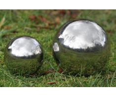 Boltze - Sfera decorativa da giardino o per laghetto da giardino, galleggiante, Ø 13 cm, in acciaio INOX lucidato e brillante, colore: Argento