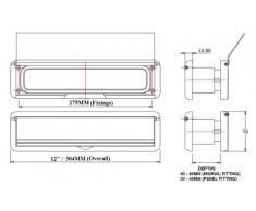 HS2802 HomesSecure-Buca da lettere per porte in UPVC, con piastra, colore: cromato