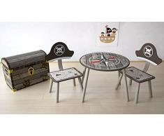 IB-Style - Salottino per bambini UNICORN | 3 combinazioni | 4 pezzi: Set composto da tavolo per bambini, 2 sedie e cassapanca - Set di mobili per bambini con cassapanca