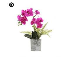 Wood.L Phalaenopsis Fiori Orchidea Piantina Finta Con Vaso Artificiale Vaso Di Orchidee Bonsai In Vaso Con Vaso Arredamento Per La Casa Decorazione Per La Festa Nuziale