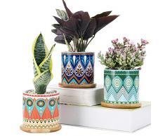SE SUN-E Set di 3 vasi per Piante succulente, fioriere in Ceramica di Cactus Rotonde da 8 cm con vassoi in bambù e Foro di drenaggio Idea Regalo Perfetta Mandala Modello di Superficie (Mandala)