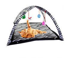 Dailyinshop Tenda da Gioco per Gatti con Giocattoli appesi Palle Tenda da Letto per Gatti Gattino Tappetino attività di Esercizio Coperta Forniture per Animali Portatili (Colore: Bianco e Nero)