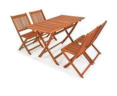Deuba set da pranzo Sydney Light da giardino 5 pezzi tavolo e sedie da esterno in acacia Certificato FSC terrazzo balcone
