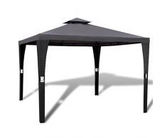 XINGLIEU gazebo Canopy gazebo in polirattan con tetto grigio scuro telaio pergola, 3 x 3 m, materiale: acciaio verniciato a polvere + PE in vimini