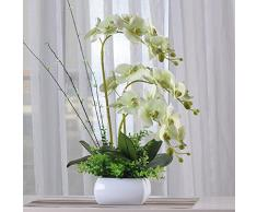 Fiori artificiali SCFLOWER Orchidee In Plastica Ceramica Vasi Di Fiori Fiori Finti Bundle Home Wedding Decorazione Regali Green