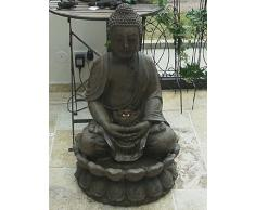 FONTANA BUDDHA SCULTURA STATUA 86cm INCL. LUCE/POMPA FENG SHUI FIGURA
