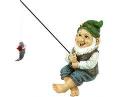 QKFON - Statua da giardino, con gnomo da pesca, divertente da giardino, statuetta nana in miniatura, per decorazione esterna (gnomo verde)