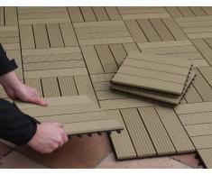 Piastrelle EVERFLOOR WPC da giardino (misto plastica/legno) profilo massiccio, teak, 10 pezzi, 30 x 30 cm (ca. 0,9m2)