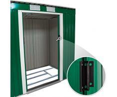 TecTake Box casetta metallo per giardino serra per attrezzi capannone verde + fondazione 213x130x173cm
