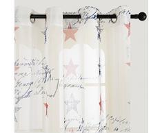 Top Finel Stelle Stampato Voile Tenda con occhielli pura Finestra Balcone cameretta bambini per casa ,140 x 245 cm,1 pezzo bianco