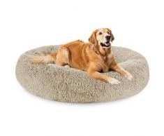 G.C Cuccia Pelosa Cane Grande Interno, Lettino per Cani Rilassante Cuscino Morbido Rotondo Antistress Letto Peluche per Cani e Gatti Lavabile (XXL(91 x 66 x 20 cm))
