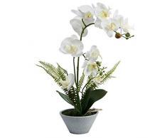 Omygarden Fiore di orchidea artificiale con vaso, finta Phalaenopsis, decorazione per casa, ufficio, matrimonio