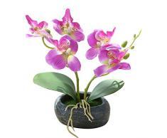 Flikool 2 Steli Orchidea Artificiali in Vaso Phalaenopsis Fiori Artificiale in Seta Finta Orchidee Bonsai Piante Artificiali per Balcone Casa Ufficio Tavolo Decorazione - Viola
