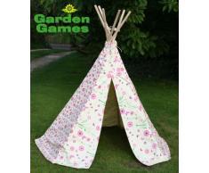 Garden Games Teepee 3041 - Teepee Tenda Indiana in Cotone con Fiori e Farfalle per Bambini