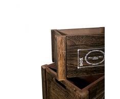 Rebecca Mobili Set 4 scatole Contenitore Bianche, ceste Legno Scuro, Cassette Vintage, Cucina Giardino Bagno - Misure 20 x 41 x 31 cm (HxLxP) - Art. RE4476