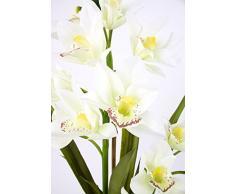 artplants Orchidea artificiale Cymbidium NALA in vaso, 2 rametti, bianco-crema, 70 cm - Orchidea in vaso di terracotta/Orcidea finta