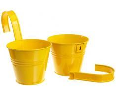 Siena Garden 722604 Set 2 vasi con supporto incluso, colore: Giallo