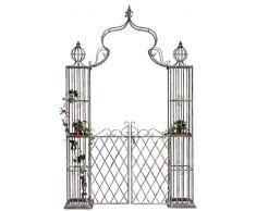 Arco di rose con porta Pforte 110241 in metallo ferro-battuto 274x172cm Cancello da giardino