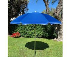 EUROLANDIA 89503BLU - Ombrellone Parasole da Spiaggia in Alluminio da 220 cm con Snodo per la Reclinazione Colore Blu, per Spiaggia, Giardino e Balcone