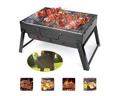 LJYLF Pieghevole Portatile Barbecue a carbonella, Acciaio Inox Barbecue Grill, Griglia Trasportabile per Picnic allaperto Giardino Terrazza Campeggio