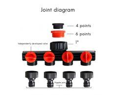 Hihey Spegnimento per Tubo Flessibile da Giardino a 4 Vie Tubo dell'Acqua di Raccordo per Giardino e Prato, Attacco per Sistema di irrigazione Goccia a Goccia