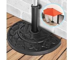 Base Supporto Ombrellone - Semicircolare in Resina, 9 kg, con Decorazioni, Cemento - Base di appoggio per Parasole, Giardino, Terrazza, Piscina, Spiaggia