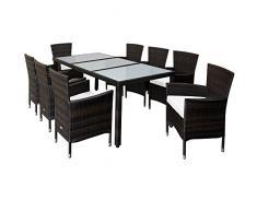 Deuba Tavolo e sedie da Giardino Rattan 8 sedie impilabili Set mobili da Esterno Arredamento Giardino Balcone terrazzo
